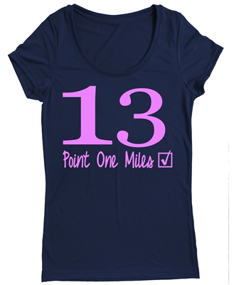 Half marathon fitted tee shirt for women