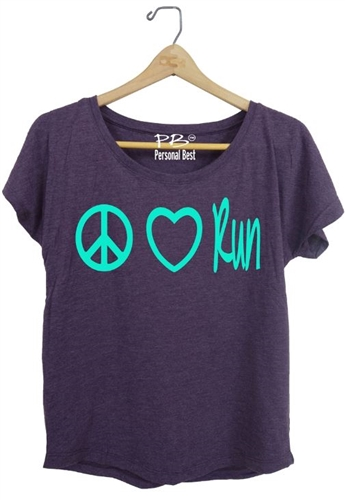 Women's Running Top- Peace heart run