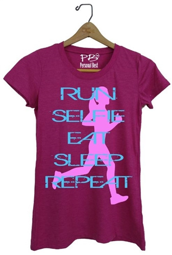 Athletic t shirt - RUN eat, sleep, repeat
