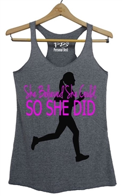 Running tank top she believed she could so she did