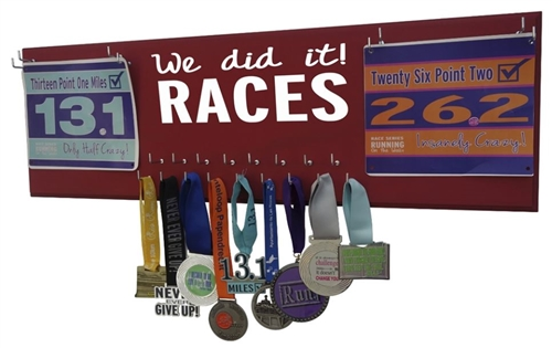 We did it RACES Medals holder with double bibs display