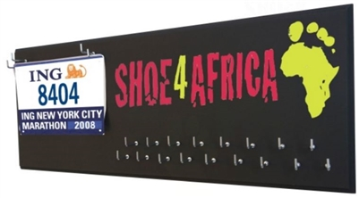 Shoe 4 Africa logo medal hanger and bib holder
