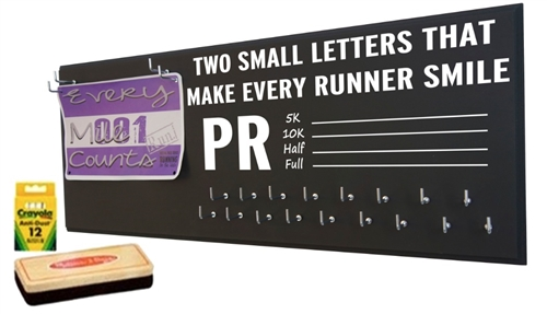 PR chalk board for running medal holder and race bib hanger for runners