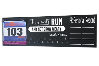 chalk board running triathlon medal hanger distance Isaiah 40 31