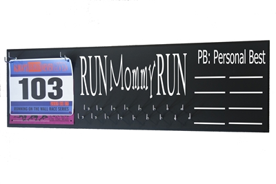 chalk board running triathlon medal hanger distance RUN mommy