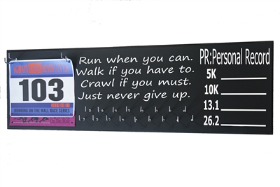 chalk board running triathlon medal hanger distance RUN walk crawl