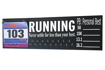 chalk board running triathlon medal hanger distance
