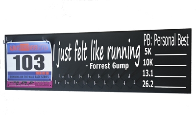 chalk board running triathlon medal display distance forrest