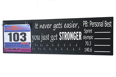 chalk running triathlon medal hanger distance stronger