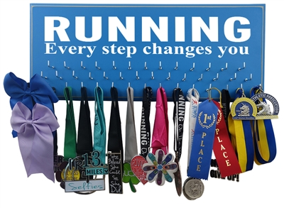 RUNNING - every step changes you - medals display rack