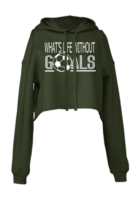 Soccer Goals Cropped Hoodie for Athletic Teen Girl in Charcoal, Black, or Army Green