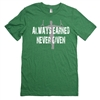 Gymnastics Tee Shirt - Always Earned Never Given - For Teen Gymnasts