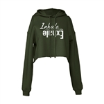 Yoga Cropped Hoodie - Inhale Exhale with Yoga Mat Design - For Teen Girls & Women