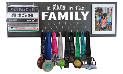 Family race bibs and medals display holder