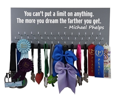 Inspirational medal hanger with Phelps quote