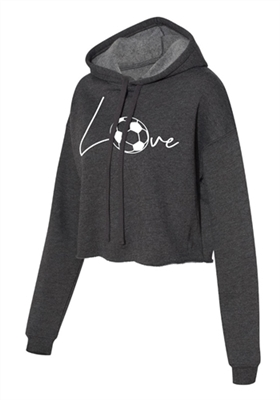 Love Soccer Cropped Hoodie for Athletic Teen Girl in Charcoal, Black, or Army Green