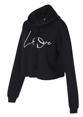 Love Softball Cropped Hoodie for Athletic Teen Girl in Charcoal, Black, or Army Green
