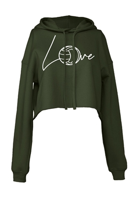 Love Volley Cropped Hoodie for Athletic Teen Girl in Charcoal, Black, or Army Green