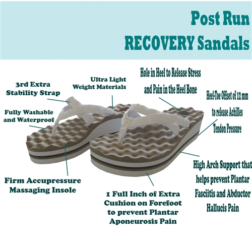 Post-run recovery sandals with arch support and acupressure point massaging flip-flops