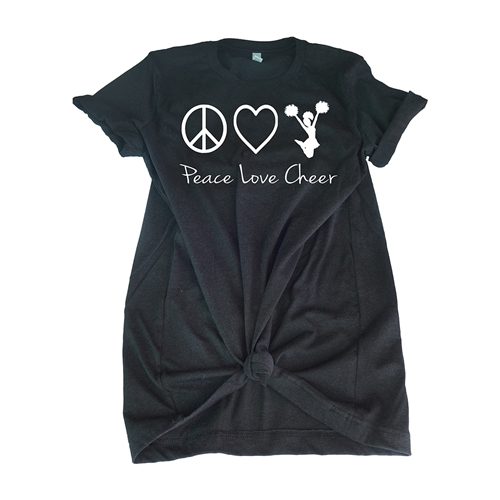 Cheer Tee Shirt -  Peace Love Cheer - For Teen Cheerleaders