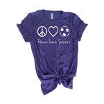 Soccer Tee Shirt - Peace Love Soccer - For Teen Soccer Players