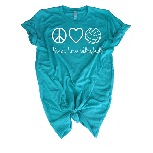 Volleyball Tee Shirt - Peace, Love, Volleyball - For Teen Volleyball Players