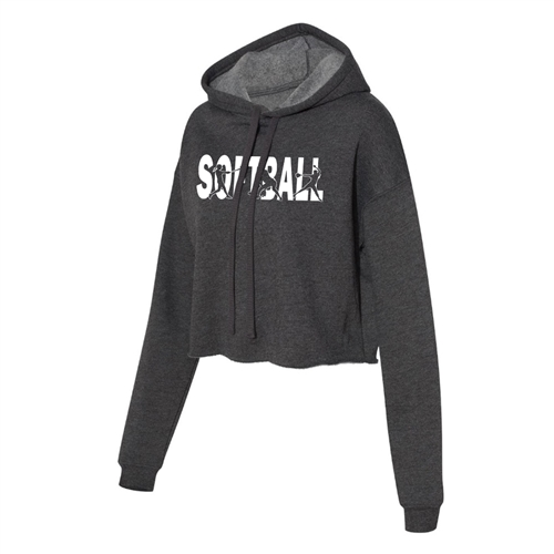 Softball Cropped Hoodie for Athletic Teen Girl in Charcoal, Black, or Army Green