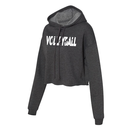 Volley Cropped Hoodie for Athletic Teen Girl in Charcoal, Black, or Army Green