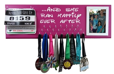 she ran happily ever after - race bibs and medal display rack