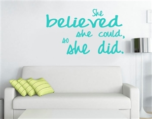 Wall sticker for runners - She believed she could