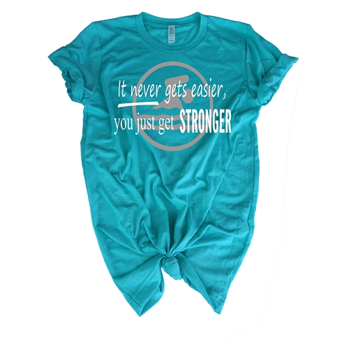 Swimming Tee Shirt - It Never Gets Easier You Just Get Stronger - For Athletic Teen Girls and Boys