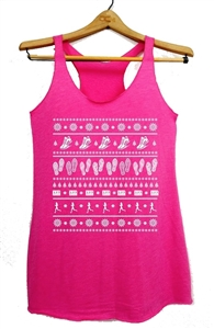 Ugly Christmas sweater tank top for women runner