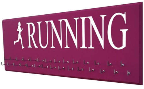 Women running silhouette  medals display rac