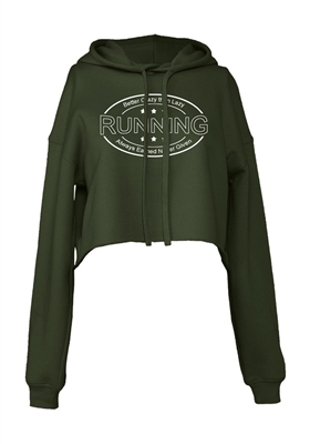 RUNNING Cropped Hoodie for Athletic Teen Girl in Charcoal, Black, or Army Green