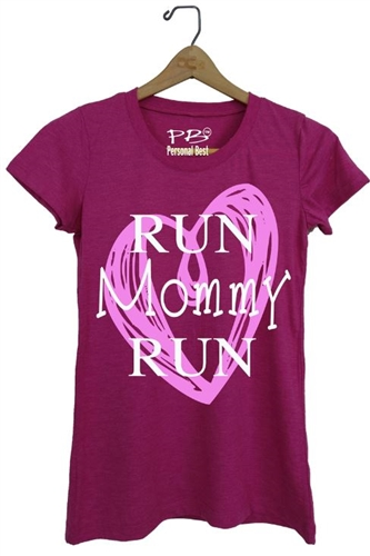 Run mommy run heart - running t shirt for women