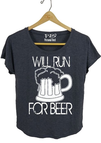 Women's running tee -  Will Run for Beer