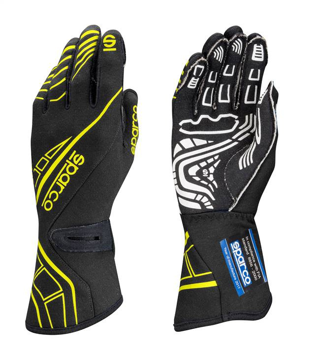 SPARCO Gloves - Lap RG-5 - Driving - SFI 3.3/5 - FIA Approved - Single Layer - Nomex / Silicone - Black / Yellow - Small - Pair # 00131109NRGF
