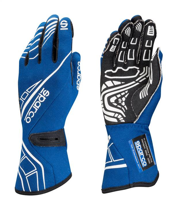 SPARCO Gloves - Lap RG-5 - Driving - SFI 3.3/5 - FIA Approved - Single Layer - Nomex / Silicone - Blue - Medium - Pair # 00131110AZ