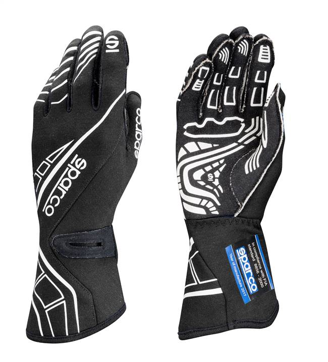 SPARCO Gloves - Lap RG-5 - Driving - SFI 3.3/5 - FIA Approved - Single Layer - Nomex / Silicone - Black - Medium - Pair # 00131110NR