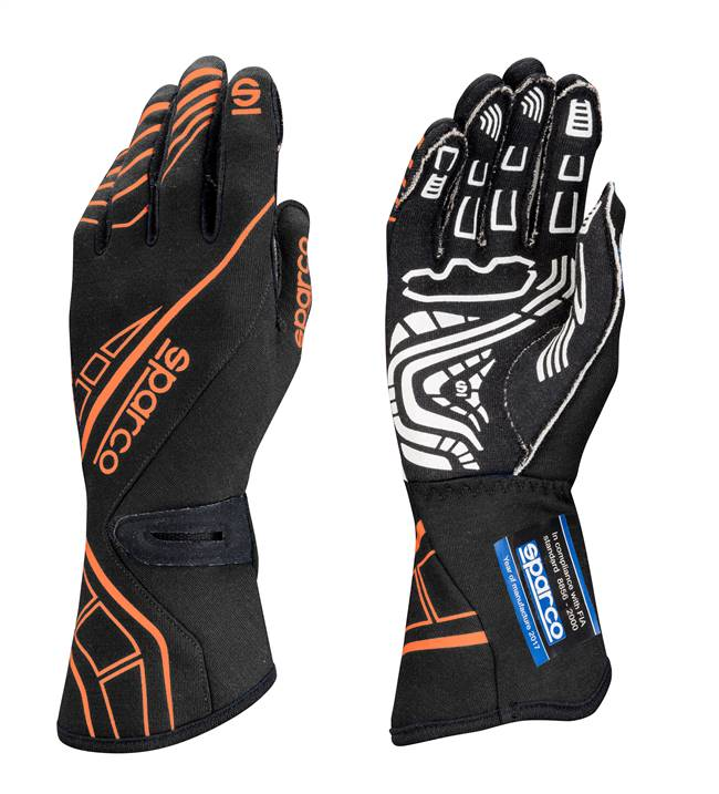 SPARCO Gloves - Lap RG-5 - Driving - SFI 3.3/5 - FIA Approved - Single Layer - Nomex / Silicone - Black / Orange - Medium - Pair # 00131110NRAF