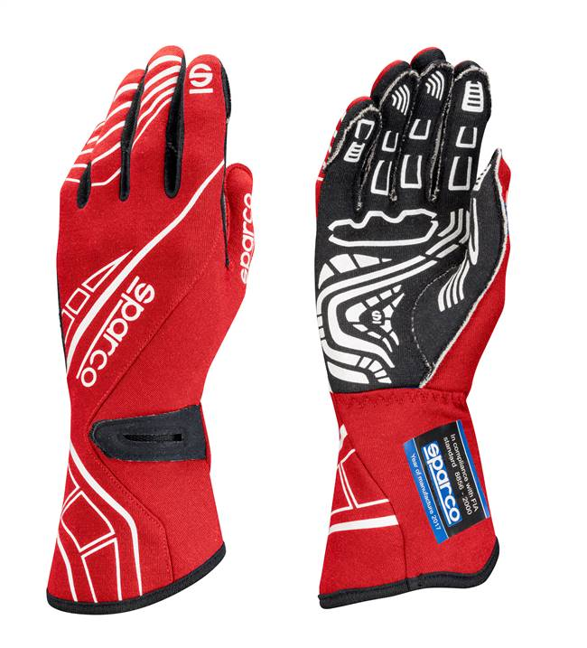 SPARCO Gloves - Lap RG-5 - Driving - SFI 3.3/5 - FIA Approved - Single Layer - Nomex / Silicone - Red - Large - Pair # 00131111RS