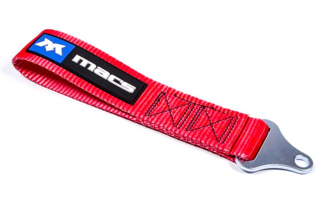 MACS CUSTOM TIE-DOWNS Tow Loop - Soft-Touch - Bolt-On - 11-13/16 in Long - 10000 lb Webbing - 7/16 in Mount - Nylon - Red - Mac's Logo - Each # 123800