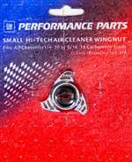 PROFORM Air Cleaner Nut - Small - 1/4-20 and 5/16-18 in Threads - Black / Red Bowtie Logo - Steel - Chrome - Each # 141-328