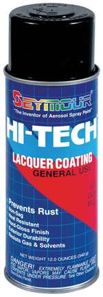 SEYMOUR PAINT Paint - HI TECH - Acrylic Lacquer - Gloss Black - 16.00 oz Aerosol - Each # 16-815