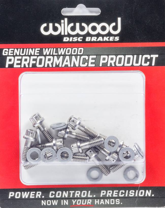 WILWOOD Brake Rotor Bolt - 1/4-20 in Thread - 0.750 in Long - 12 Point Head - Washers Included - Stainless - Set of 12 # 230-8008