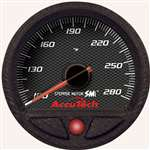 LONGACRE Oil Temperature Gauge - AccuTech - 100-280 Degree F - Electric - Analog - Full Sweep - 2-5/8 in Diameter - Black Face - Each # 52-46550