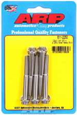 ARP Bolt - 1/4-20 in Thread - 2.250 in Long - 5/16 in 12 Point Head - Stainless - Polished - Universal - Set of 5 # 611-2250