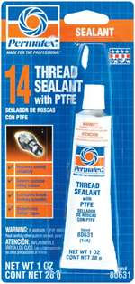 PERMATEX Thread Sealer - Thread Sealant - PTFE Base - 1.00 oz Tube - Each # 80631