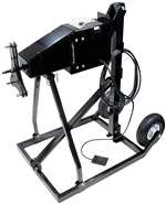 ALLSTAR PERFORMANCE Tire Prep Stand - Electric - 110V - High Torque - Cart / Foot Pedal / Motor / Wheels - 5 x 5 / Wide 5 Wheels - Black Paint - Kit # ALL10575