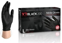 AMMEX GloveWorks, X3 black 200 BLACK Powder free industrial grade nitrile gloves small